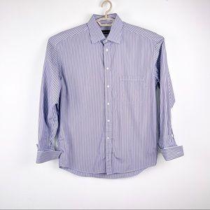Canali 100% cotton Blue Striped French Cuff Shirt